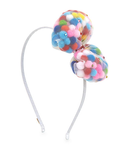 Girls' Mesh Pompom Bow Headband