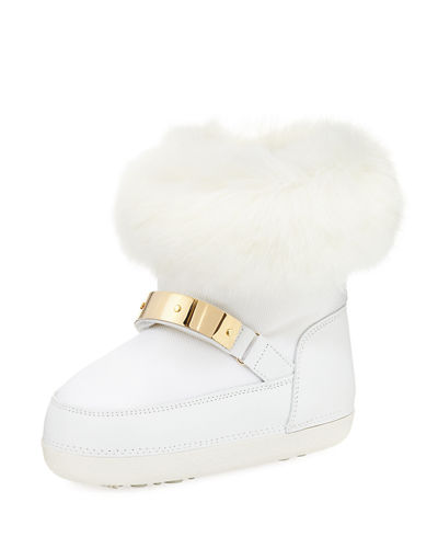 Giuseppe Zanotti Kids' Snow Laceless Fur Boot, Youth