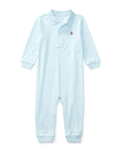 Long-Sleeve Pima Polo Coverall, Size 3-12 Months