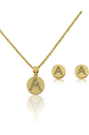 LMTS Girl's Gold-Plated Initial Studs and Necklace Set