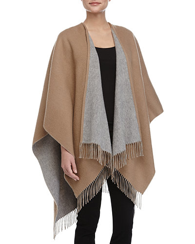 Double-Face Fringed Wool Cape