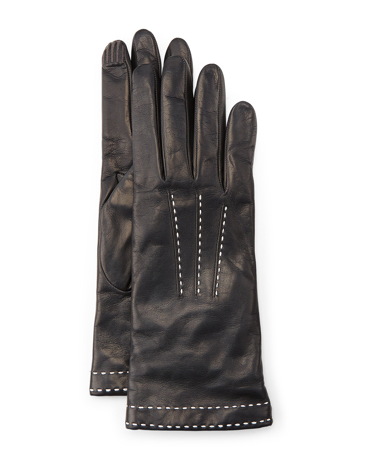 STITCH DETAIL LEATHER GLOVES