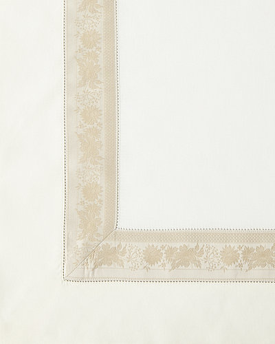Queen 300 Thread Count Garland Flat Sheet