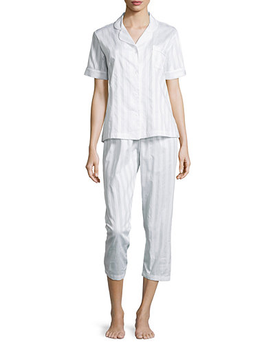 Tina Shadow-Stripe Short-Sleeve Long Pajama Set