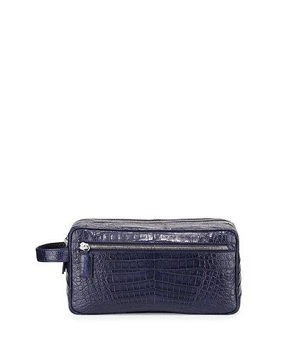 Santiago Gonzalez Crocodile Double-Zip Travel Bag
