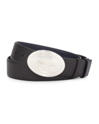 PRADA OVAL LOGO REVERSIBLE LEATHER BELT, BLACK/BROWN