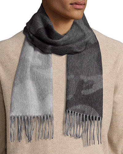 Begg & Co Colorblock Camouflage Cashmere Scarf w/Fringe