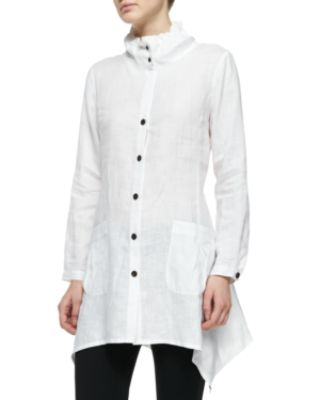 Go Silk Ruffle-Collar Linen Drama Big Shirt, Plus