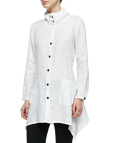 Ruffle-Collar Linen Drama Big Shirt, Plus Size