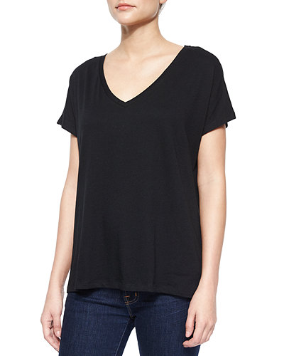 Majestic Paris for Neiman Marcus V-Neck Cotton High-Low