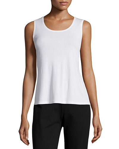 Eileen Fisher Merino Rib-Mix Shaped Cardigan, Silk-Jersey Tank