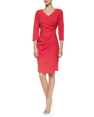 NYDJ Rosella Stretch-Crepe Ruched Sheath Dress