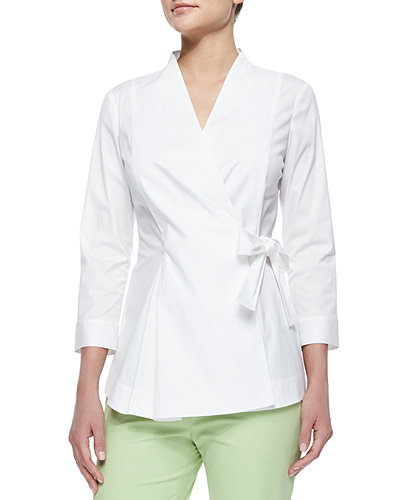 Lafayette 148 New York Jillian Wrap Blouse W/