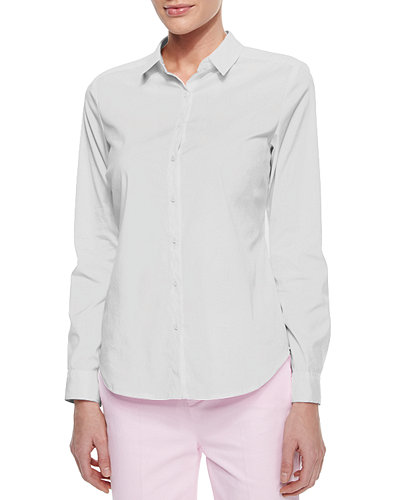 NYDJ Long-Sleeve Cotton Stretch Button-Front Shirt