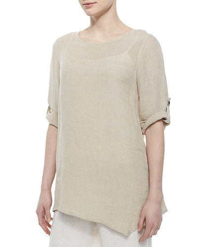 Caroline Rose Crinkled Asymmetric Linen Tunic & Wide-Leg