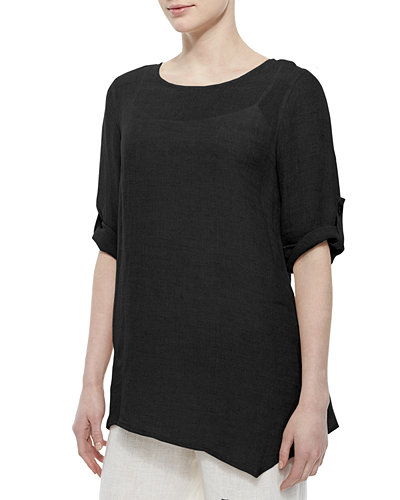 Crinkled Asymmetric Linen Tunic, Plus Size