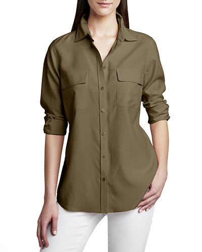 Petite Safari Long-Sleeve Silk Shirt