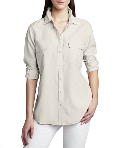 Go Silk Safari Long-Sleeve Silk Shirt
