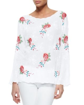 Johnny Was Jaynee Long-Sleeve Embroidered Blouse