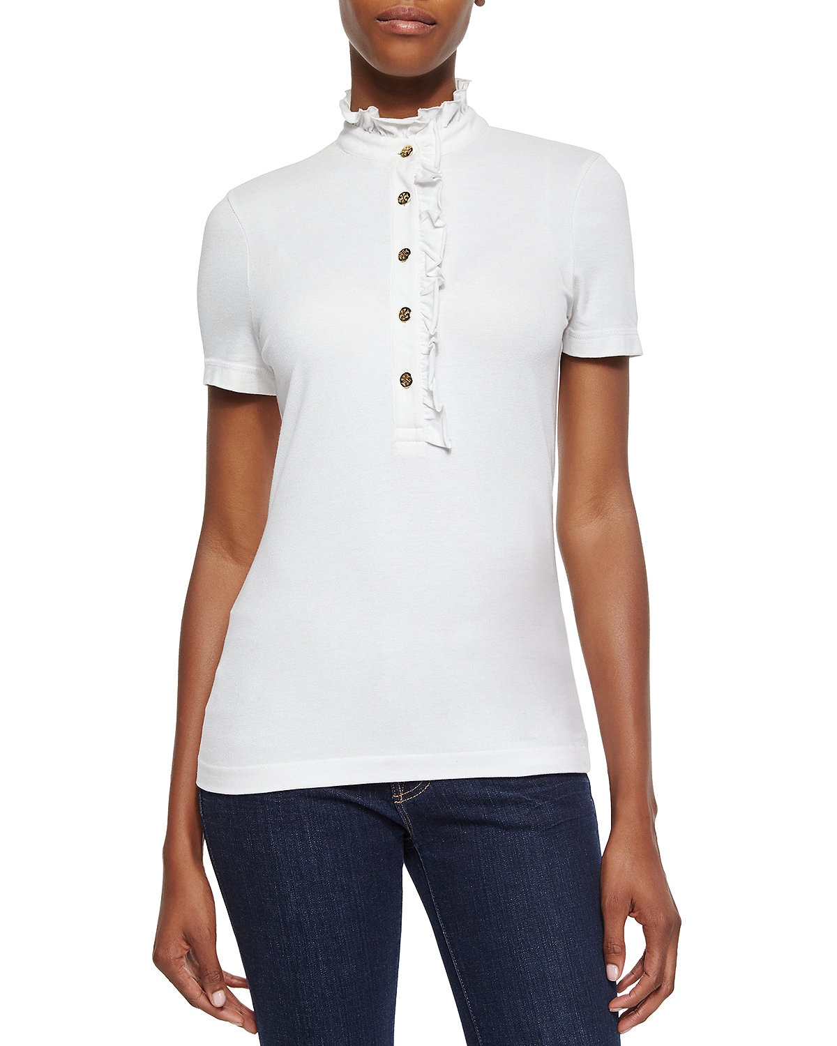 Lidia Short-Sleeve Ruffled Polo