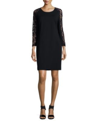 Magaschoni Lace-Sleeve Sheath Dress