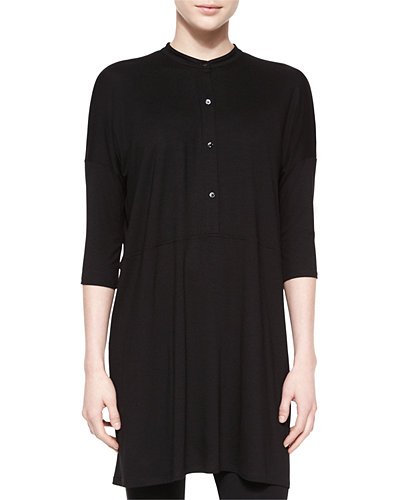 3/4-Sleeve Henley Long Tunic