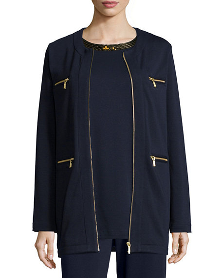 Image 1 of 3: Joan Vass Four-Pocket Cotton Interlock Jacket