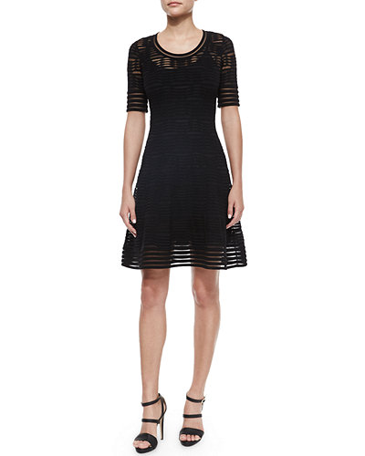 M Missoni Half-Sleeve Rib-Stitch Dress