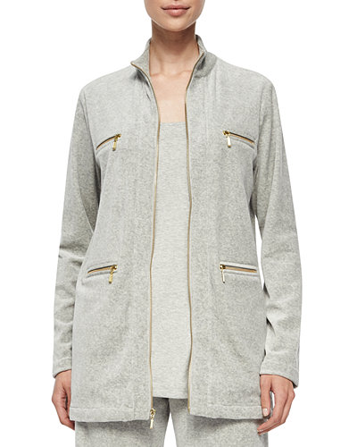 Joan Vass Velour 4-Pocket Long Jacket, Cotton Interlock