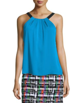 Milly Silk Crepe Pleated Tank