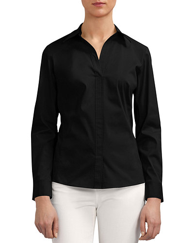 Lafayette 148 New York Katie Side-Zip Blouse, Plus