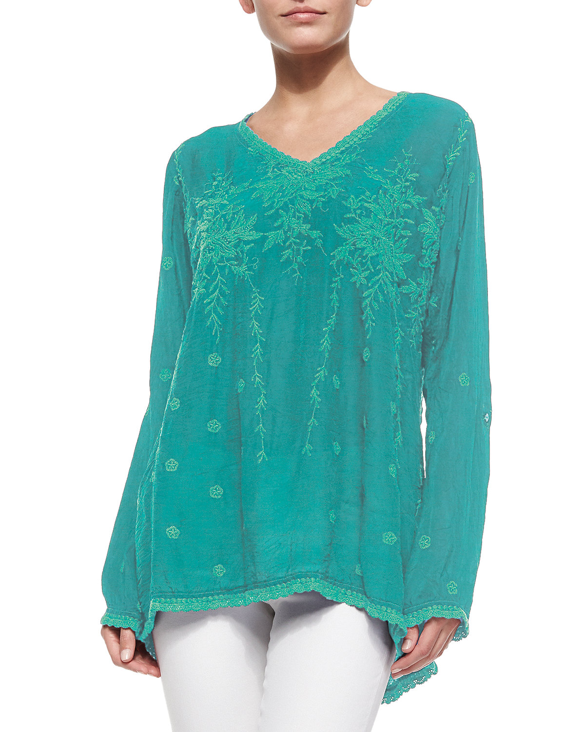 Vine Embroidered Georgette Tunic, Petite