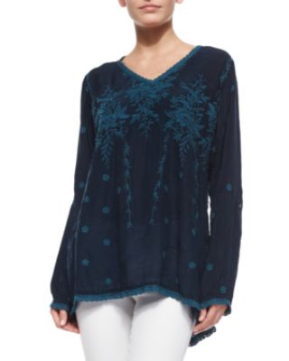 Johnny Was Vine Embroidered Georgette Tunic & Jasper