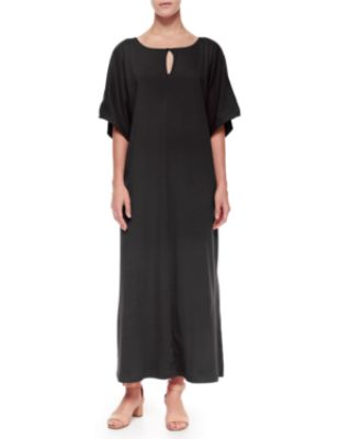 Joan Vass Keyhole-Front Long Dolman Dress, Plus Size