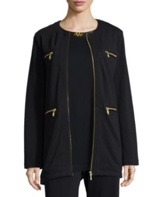 Joan Vass Four-Pocket Cotton Interlock Jacket, Sequined-Neck Long