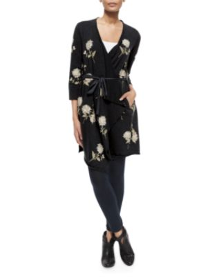 Johnny Was Margarit Flower-Embroidered Waist-Tie Cardigan
