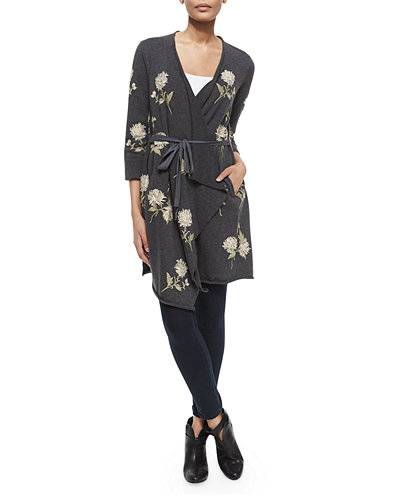 Margarit Flower-Embroidered Waist-Tie Cardigan