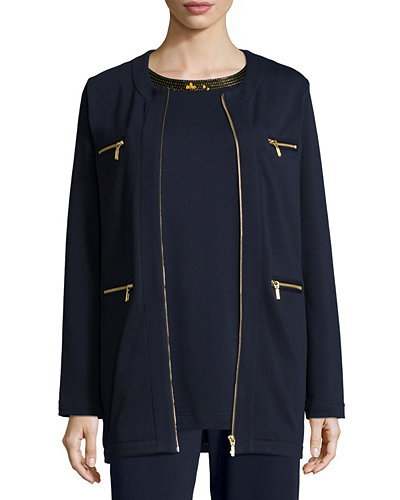 Joan Vass Four-Pocket Cotton Interlock Jacket, Plus Size