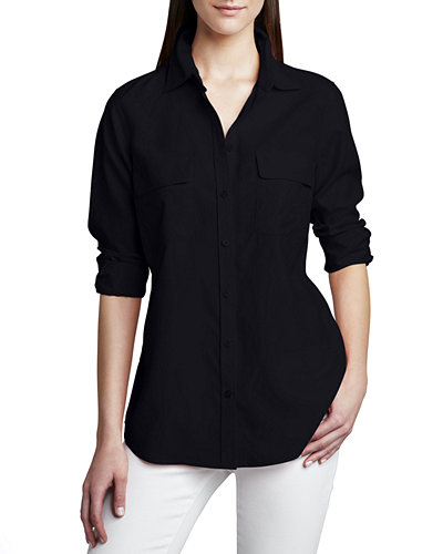 Go Silk Plus Size Safari Long-Sleeve Silk Shirt