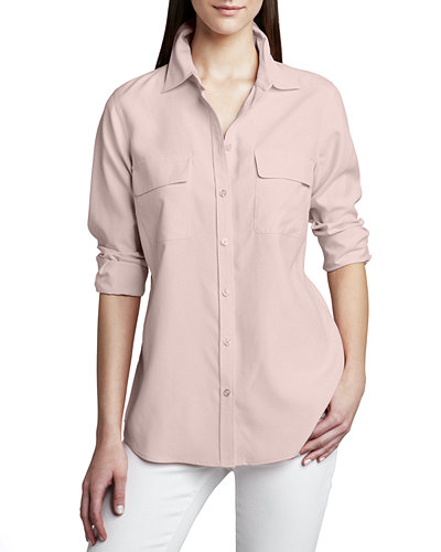 Plus Size Safari Long-Sleeve Silk Shirt