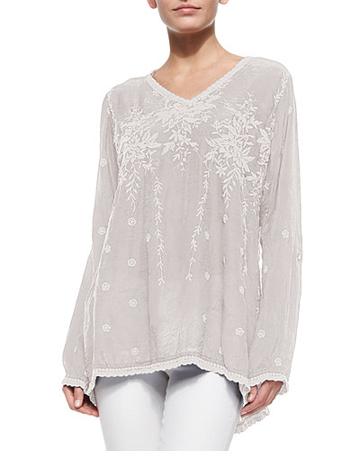 Vine Embroidered Georgette Tunic, Plus Size