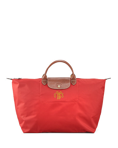 Le Pliage Large Monogram Travel Tote Bag, Deep Red