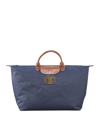 Le Pliage Large Monogram Travel Tote Bag, New Navy