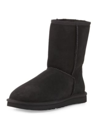 UGG CLASSIC SHORT SUEDE BOOT, BLACK