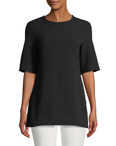 Lela Rose Short-Sleeve Tunic, Black and Matching Items