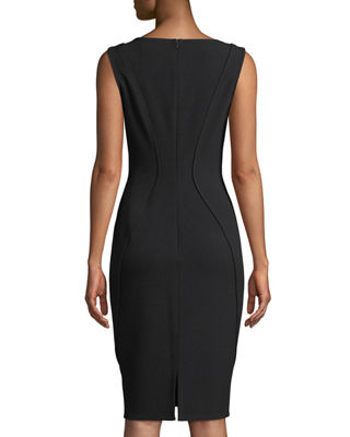 Image 2 of 2: Sleeveless Boat-Neck Sheath Dress