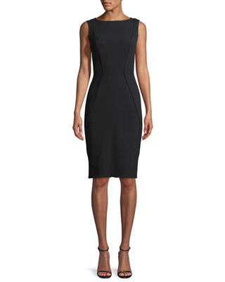 Image 1 of 2: Sleeveless Boat-Neck Sheath Dress
