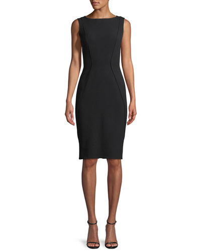 Lela Rose Gabardine Shrug & Sleeveless Boat-Neck Sheath