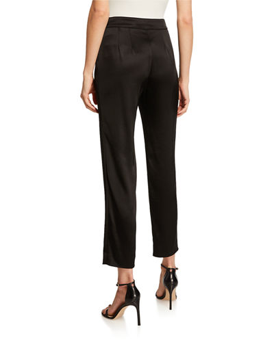 St. John Collection Liquid Satin Side Zip Cropped Pants