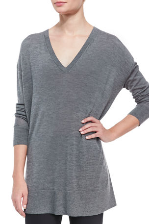 THE ROW Amherst Long-Sleeve Oversized V-Neck Sweater